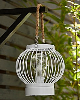 White Battery Operated Lantern with Rope Handle