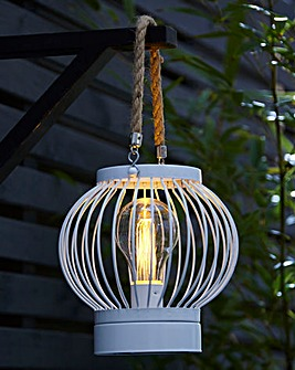 White Solar Lantern with Rope Handle