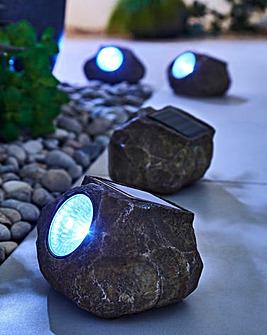 Set of 4 LED Solar Rock Lights