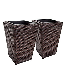 Set of 2 Brown Rattan Planters - Small