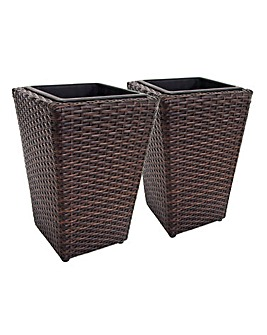 Set of 2 Brown Rattan Planters - Medium
