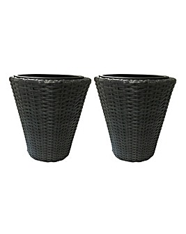 Set of 2 Grey Rattan Planters - Small