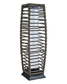 Rattan Solar Pillar Light Grey