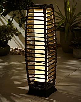 Rattan Solar Grey Pillar Lantern