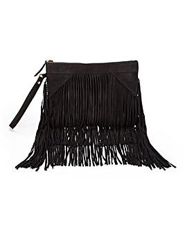Black Suede Fringed Clutch Bag
