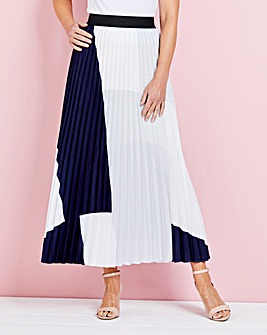 Colour Block Print Pleat Maxi Skirt