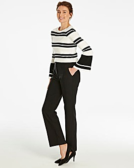 Side Split Hem Straight Trousers Regular