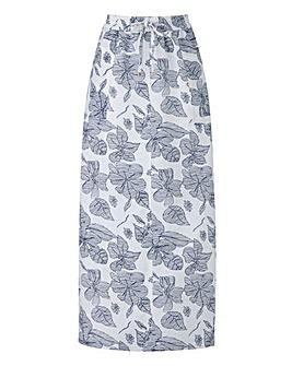 Petite Print Linen Mix Maxi Skirt