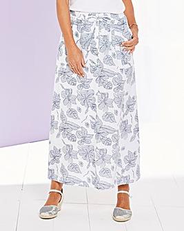 Print Linen Mix Maxi Skirt