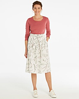 Ivory Floral Tie Waist Cotton Skirt