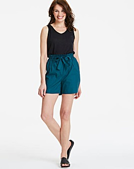 Belted Waist Cotton Poplin Shorts