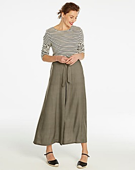 Khaki Centre Front Pleat Maxi Skirt