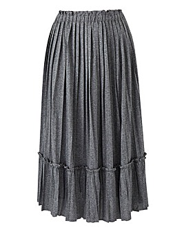 Pleated Ruffle Trim Midi Skirt