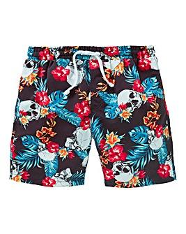 Boys Skull Print Swim Shorts