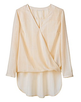 Wrap-Front Blouse with Dipped Back Hem