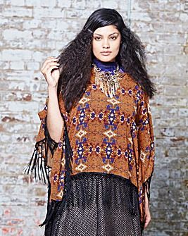 V Neck Fringe Trim Poncho