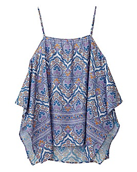 Blue Print Dipped Side Camisole