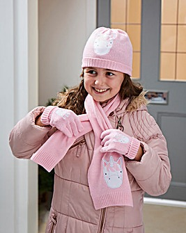 Unicorn Hat, Scarf and Gloves Kids Set