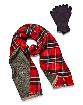 Reversible Tartan Scarf and Gloves Set