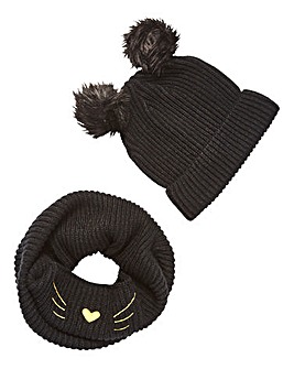 Cat Snood and Pom Pom Hat Gift Set