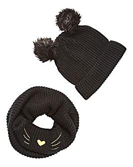 Cat Snood and Pom Pom Hat Gift Set