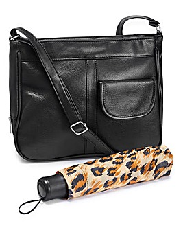 Black Crossbody Bag With Leopard Print Umbrella