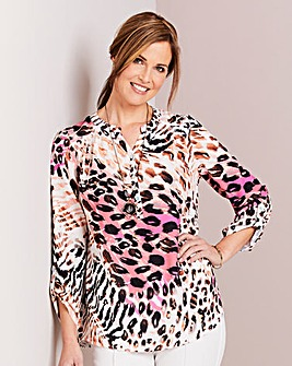 Animal Print Blouse and Necklace