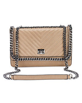 Olivia Taupe Quilted Shoulder Bag