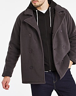 Charcoal Fleece Pea Coat