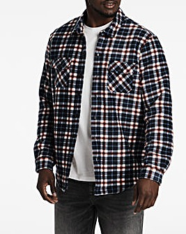 Navy Check Borg Lined Fleece Shirt
