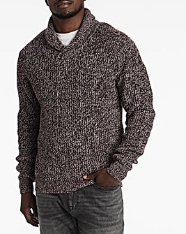 Wine Twisted Shawl Collar Jumper