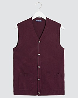 Wine Button Front Knitted Waistcoat