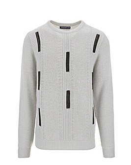 Grey Jacquard Crew Neck Jumper
