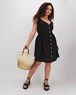Black Frill Linen Button Skater Dress