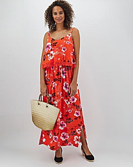 Red Floral Lace Trim Layer Maxi Dress