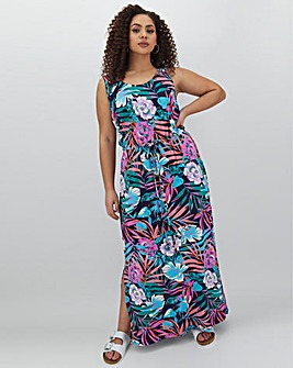 Tropical Print Vest Maxi Dress