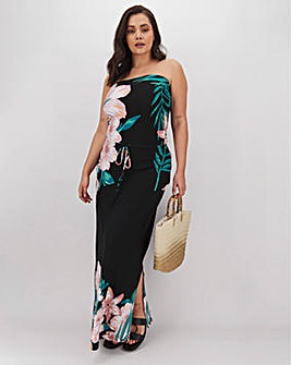 Floral Print Bandeau Jersey Maxi Dress