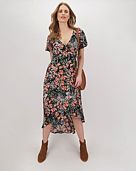 Floral Dipped Hem Crinkle Dress