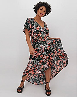 Floral Dipped Hem Crinkle Dress