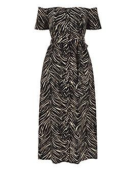 Zebra Linen Bardot Midi Dress