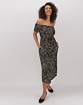 Zebra Linen Bardot Midi Dress