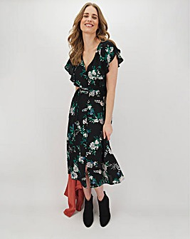 Black Floral Tie Back Midi Dress
