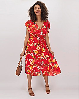 Red Floral Tie Back Midi Dress