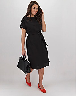 Black Button Shoulder Shift Dress