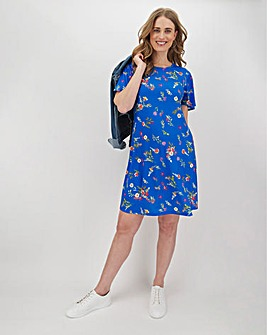 Blue Floral Short Sleeve Swing Dress