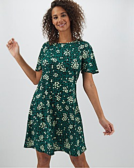 Green Print Short Sleeve Swing Dress