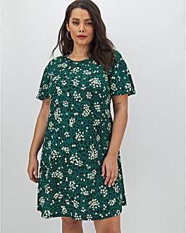 Green Print Short Sleeve Swing Dress