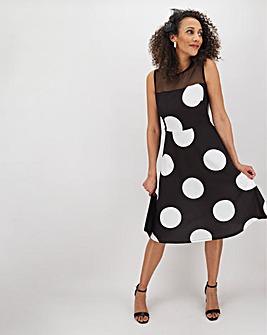 Mono Spot Mesh Detail Skater Dress