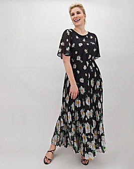 Printed Blouson Top Pleat Skirt Maxi Dress