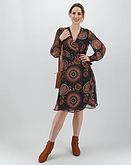 Wrap Midi Dress with Shirred Cuffs